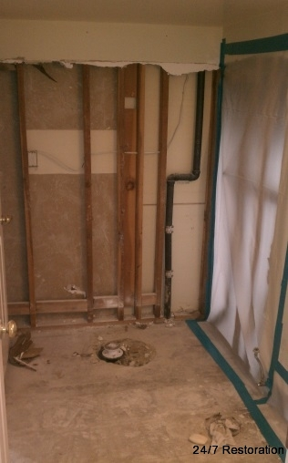 Bathroom Water Damage Before